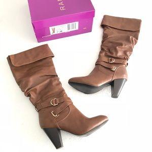 Rampage Ellesandra Cognac Smooth Heel Boots EUC